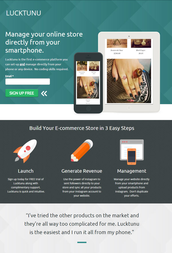 Mobile eCommerce store PPC landing page example.