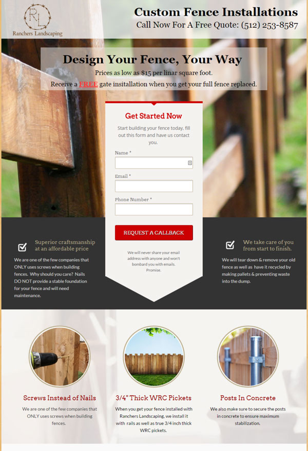 Fence installation PPC landing page example.