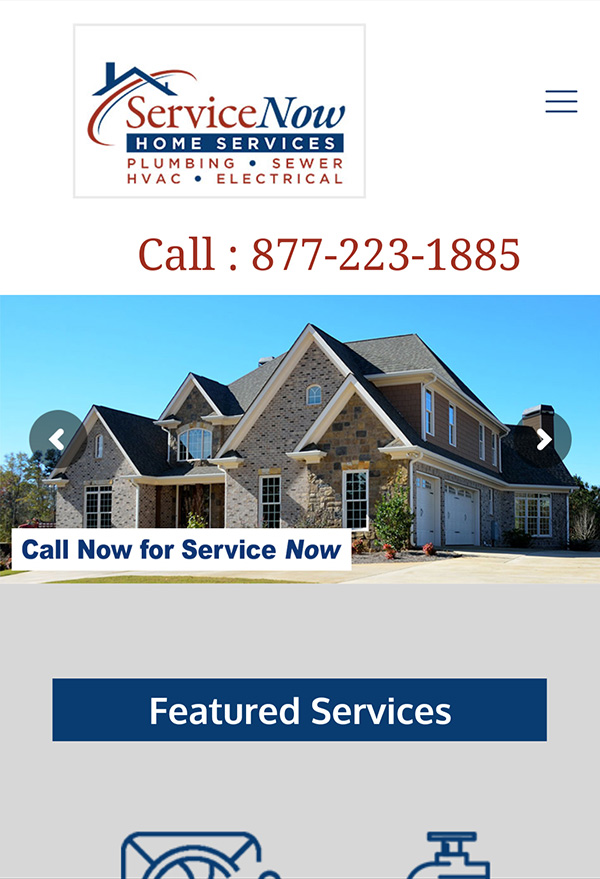 Service Now Home Services Plumbing Website Example.